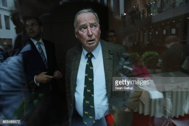 Alexander Gauland who was a colead candidate of the rightwing Alternative for Germany party in yesterday's German federal elections is seen through...