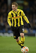 Alexander Gerndt of Young Boys in action during the UEFA Europa League Round of 32 match between Everton and BSC Young Boys on February 26 2015 in...