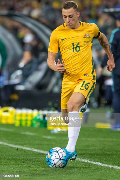 Alexander Gersbach of the Australian National Football Team controls the ball during the FIFA World Cup Qualifier Match Between the Australian...
