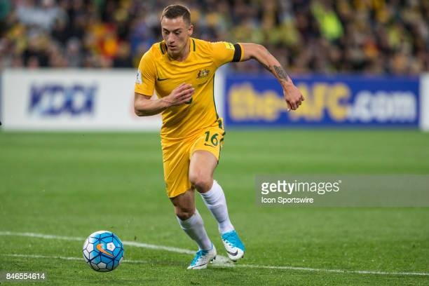 Alexander Gersbach of the Australian National Football Team runs with the ball during the FIFA World Cup Qualifier Match Between the Australian...