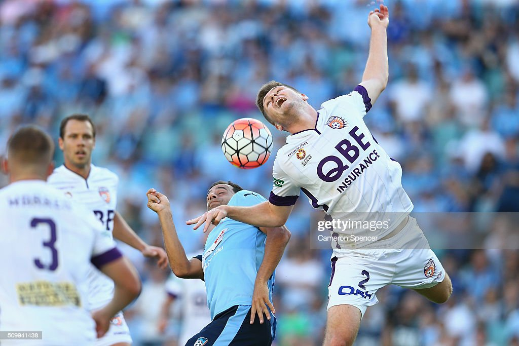 Alexander Grant of the Glory heads the ball over Sydney FC captain <a gi-track='captionPersonalityLinkClicked' href=/galleries/search?phrase=Alex+Brosque&family=editorial&specificpeople=235397 ng-click='$event.stopPropagation()'>Alex Brosque</a> during the round 19 A-League match between Sydney FC and the Perth Glory at Allianz Stadium on February 13, 2016 in Sydney, Australia.