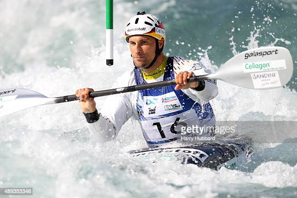 Alexander Grimm of Germany in action during the Mens Final Kayak at Lee Valley White Water Centre at Lee Valley White Water Centre on September 20...