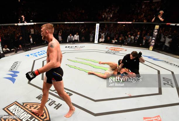 Alexander Gustafsson celebrates his knockout victory over Glover Teixeira in their light heavyweight fight during the UFC Fight Night event at the...