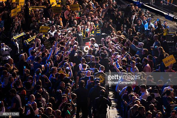 Alexander Gustafsson of Sweden makes his way to the Octagon for his main event fight against Anthony Johnson of the United States during the UFC...