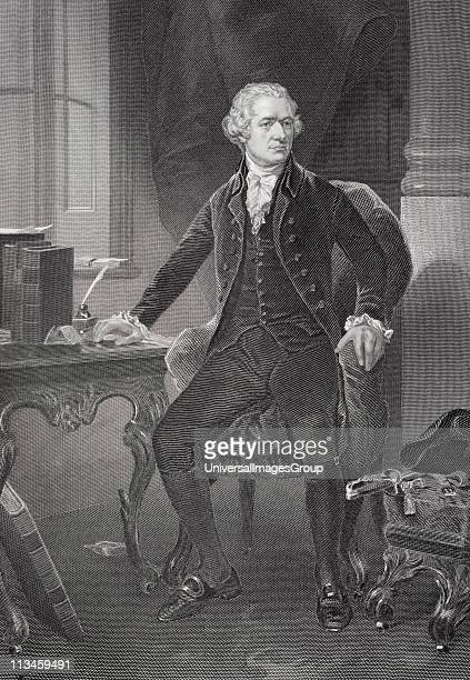 Alexander Hamilton 1755 or 1757 to 1804 American revolutionary and lawyer killed in duel with Aaron BurrFrom painting by Alonzo Chappel