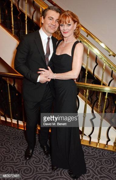 Alexander Hanson and Samantha Bond attends an after party following the press night performance of 'Dirty Rotten Scoundrels' at The Savoy Hotel on...