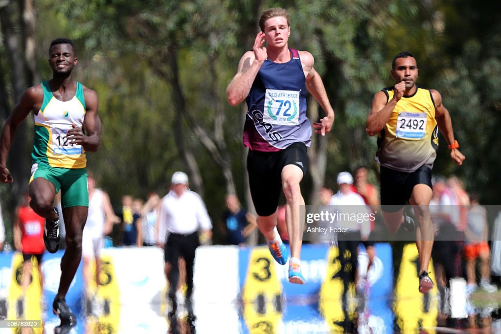 Alexander Hartmann of Queensland competes in the mens 100m sprint during the IPC Athletics Grand Prix on February 6, 2016 in Canberra, Australia.