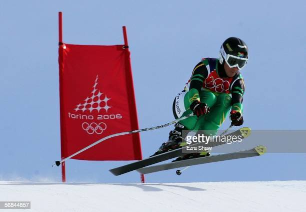 Alexander Heath of South Africa competes in the Downhill section of the Mens Combined Alpine Skiing competition on Day 4 of the 2006 Turin Winter...