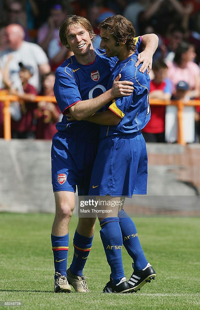 Alexander Hleb of Arsenal celebrates his first goal for Arsenal during the preseason friendly match between Barnet FC and Arsenal at Underhill...