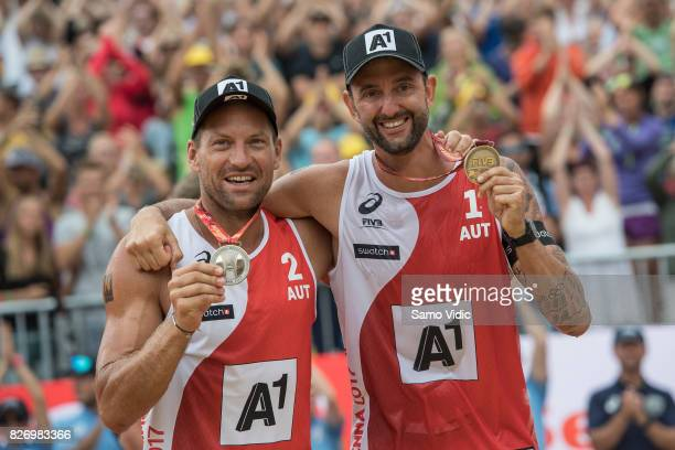 Alexander Horst and Clemens Doppler of Austria celebrate silver medal at FIVB Beach Volleyball World Championships on August 6 2017 in Vienna Austria