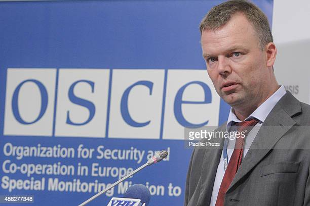 Alexander Hug Deputy Chief Monitor of the OSCE Special Monitoring Mission during a press conference in Ukraine