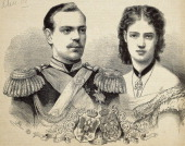 Alexander III Romanov Tsar of Russia with his wife Maria Sofia Federica Dagmar Tsarina Maria Fedorvna engraving Russia 19th century