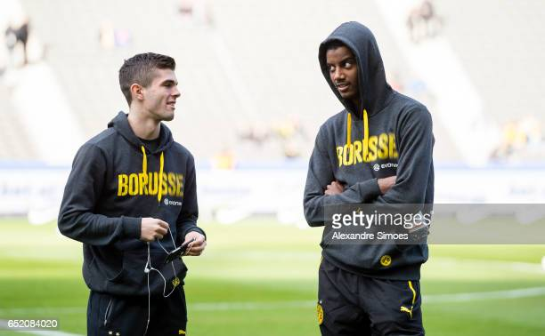 Alexander Isak and Christian Pulisic of Borussia Dortmund prior to the Bundesliga match between Hertha BSC and Borussia Dortmund at the...