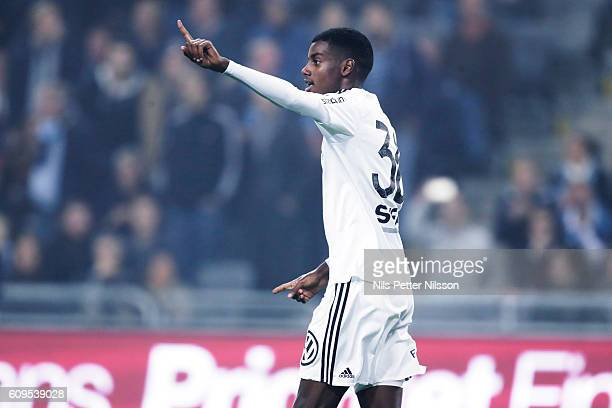 Alexander Isak of AIK celebrate after scoring 02 during the Allsvenskan match between Djurgardens IF and AIK at Tele2 Arena on September 21 2016 in...