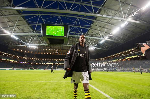 Alexander Isak of AIK celebrates after the victory during the allsvenskan match between AIK and IF Elfsborg at Friends arena on April 25 2016 in...