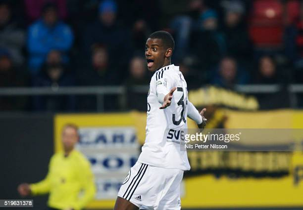 Alexander Isak of AIK during the allsvenskan match between Ostersunds FK and AIK at Jamtkraft Arena on April 7 2016 in Ostersund Sweden