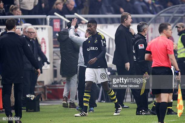 Alexander Isak of AIK leaves the pitch during the Allsvenskan match between AIK and Kalmar FF at Friends arena on November 6 2016 in Solna Sweden