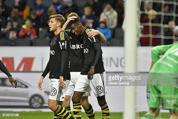 Alexander Isak of AIK scores the opening goal to 10 during the allsvenskan match between AIK and Ostersunds FK at Friends arena on October 16 2016 in...