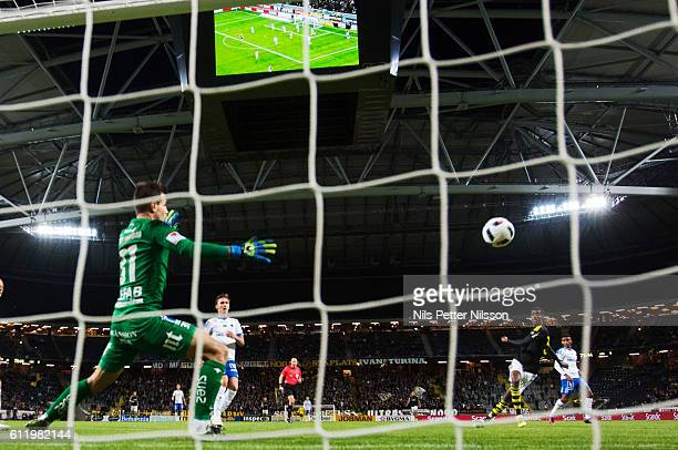 Alexander Isak of AIK scores to 50 during the Allsvenskan match between AIK and IFK Norrkoping at Friends arena on October 2 2016 in Solna Sweden