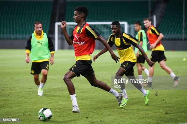 Alexander Isak of Borussia Dortmund attends a training at University Town Sports Centre Stadium ahead of 2017 International Champions Cup China on...