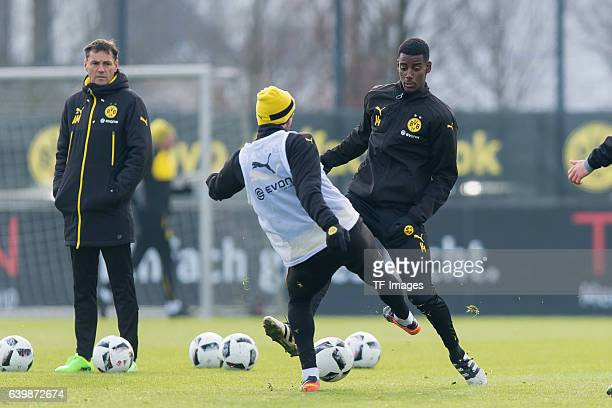 Alexander Isak of Borussia Dortmund battle for the ball during a training session at the BVB Training center on January 25 2017 in Dortmund Germany