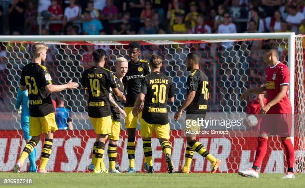 Alexander Isak of Borussia Dortmund celebrates after scoring the goal to the 11 during the preseason friendly match between RotWeiss Erfurt and...