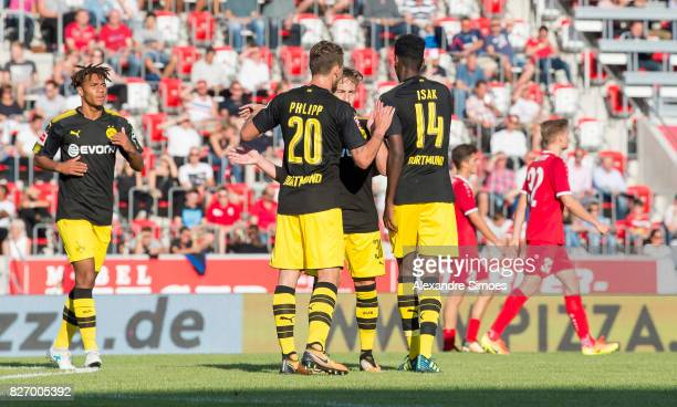 Alexander Isak of Borussia Dortmund celebrates after scoring the goal to the 25 together with Maximilian Philipp during the preseason friendly match...