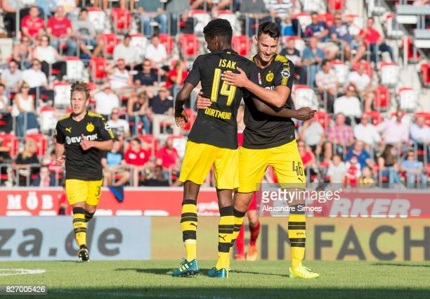 Alexander Isak of Borussia Dortmund celebrates after scoring the goal to the 25 together with JanniLuca Serra during the preseason friendly match...