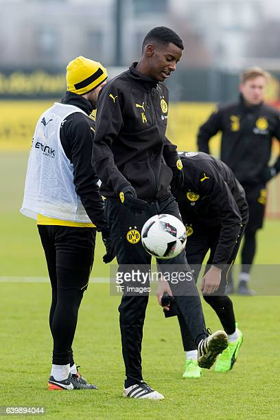 Alexander Isak of Borussia Dortmund in action during a training session at the BVB Training center on January 25 2017 in Dortmund Germany