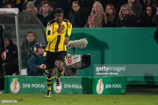 Alexander Isak of Borussia Dortmund is entering the match during the DFB Cup Quarter Final match between Sportfreunde Lotte and Borussia Dortmund at...