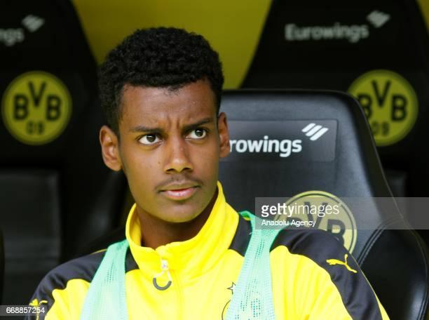 Alexander Isak of borussia Dortmund is seen before the Bundesliga soccer match between Borussia Dortmund and Eintracht Frankfurt at the Signal Iduna...