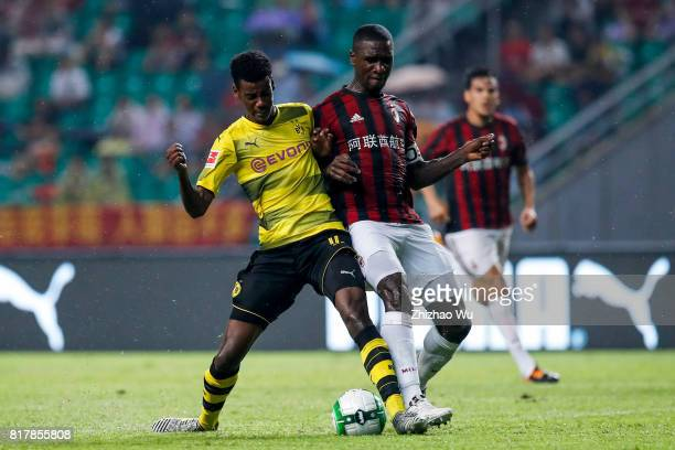 Alexander Isak of Borussia Dortmund kicks the ball at University Town Sports Centre Stadium on July 18 2017 in Guangzhou China