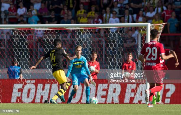 Alexander Isak of Borussia Dortmund scores the goal to the 11 during the preseason friendly match between RotWeiss Erfurt and Borussia Dortmund at...