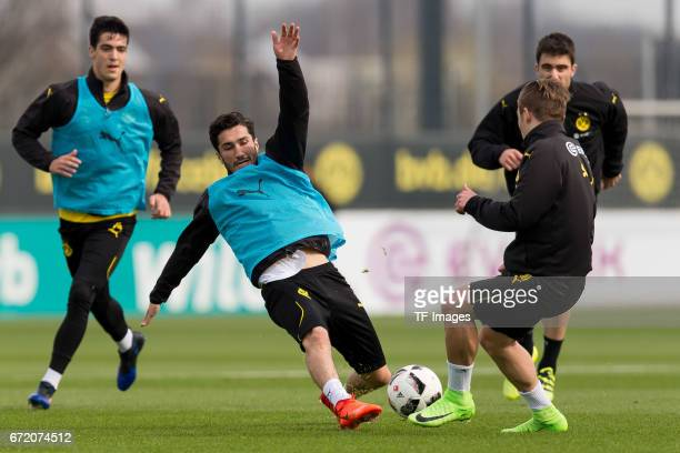 Alexander Isak of Dortmund and Felix Passlack of Dortmund battle for the ball during a training session at the BVB Training center on March 15 2017...