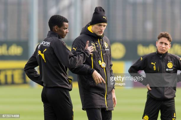 Alexander Isak of Dortmund and Head coach Thomas Tuchel of Dortmund during a training session at the BVB Training center on March 15 2017 in Dortmund...