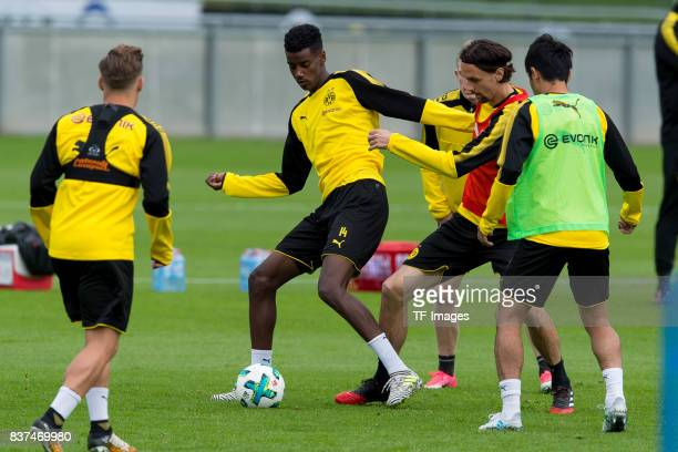Alexander Isak of Dortmund and Neven Subotic of Dortmund battle for the ball during a training session as part of the training camp on July 27 2017...