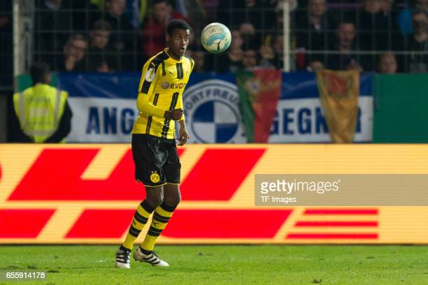 Alexander Isak of Dortmund controls the ball during the DFB Cup Quarter Final match between Sportfreunde Lotte and Borussia Dortmund at the Stadion...