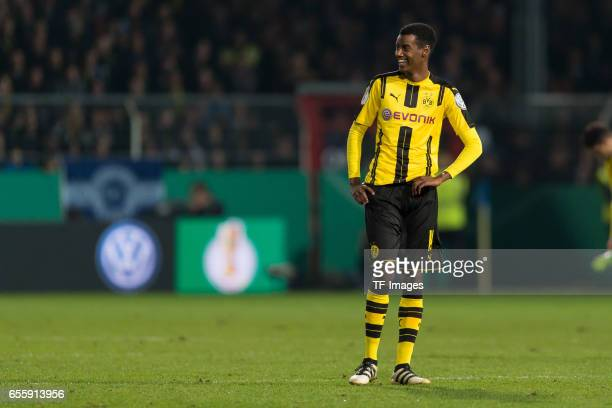Alexander Isak of Dortmund lacht lachen looks on during the DFB Cup Quarter Final match between Sportfreunde Lotte and Borussia Dortmund at the...