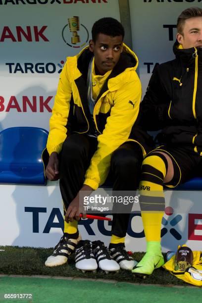 Alexander Isak of Dortmund looks on during the DFB Cup Quarter Final match between Sportfreunde Lotte and Borussia Dortmund at the Stadion an der...