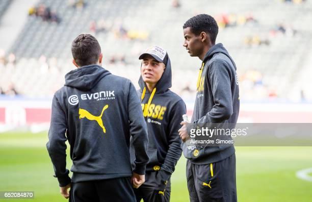 Alexander Isak Ousmane Dembele and Emre Mor of Borussia Dortmund prior to the Bundesliga match between Hertha BSC and Borussia Dortmund at the...
