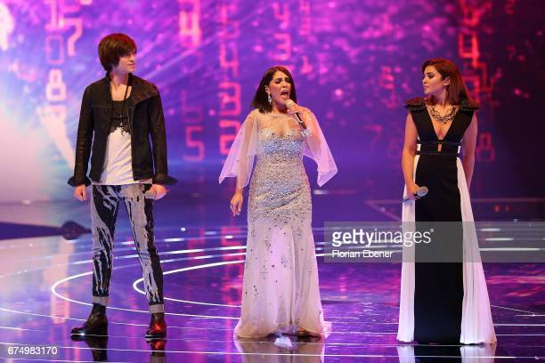 Alexander Jahnke Duygu Goenel and Maria Voskania during the fourth event show and semi finals of the tv competition 'Deutschland sucht den Superstar'...
