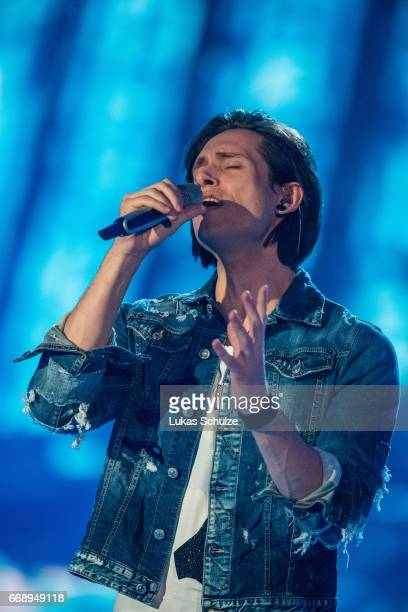 Alexander Jahnke performs during the second event show of the tv competition 'Deutschland sucht den Superstar' at Coloneum on April 15 2017 in...