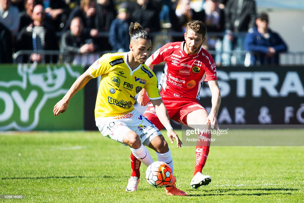 Alexander Jakobsen of Falkenberg and Marcus Rohden of IF Elfsborg competes for the ball during the Allsvenskan match between Falkenbergs FF and IF Elfsborg at Falkenbergs IP on May 1, 2016 in Falkenberg, Sweden.
