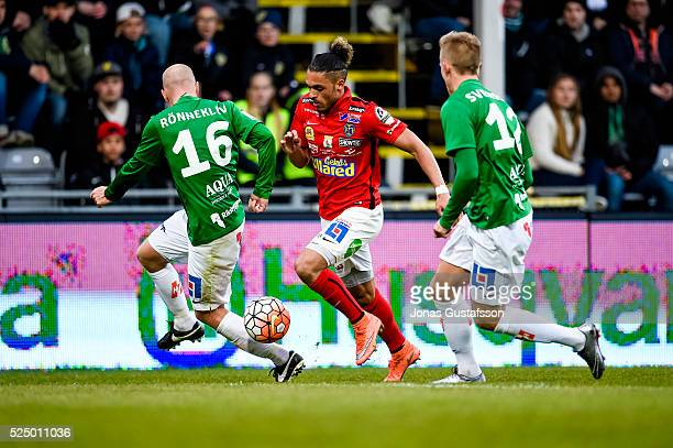Alexander Jakobsen of Falkenberg competes for the ballduring the allsvenskan match between Jonkopings Sodra IF and Falkenbergs FF at Stadsparksvallen...