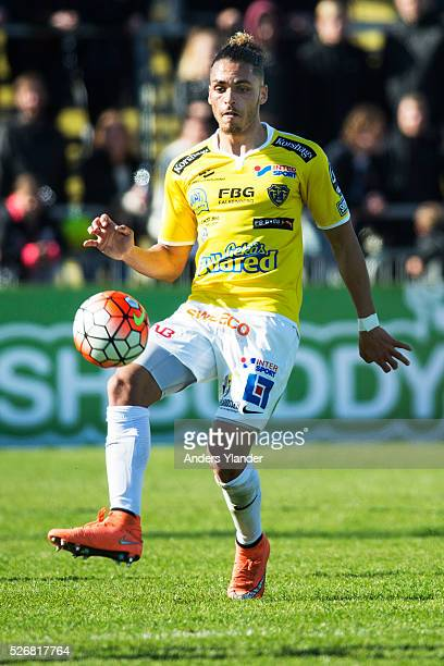 Alexander Jakobsen of Falkenberg controls the ball during the Allsvenskan match between Falkenbergs FF and IF Elfsborg at Falkenbergs IP on May 1...