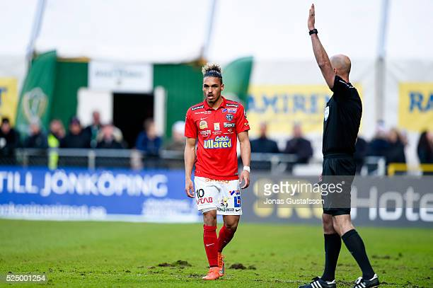 Alexander Jakobsen of Falkenberg dejected during the allsvenskan match between Jonkopings Sodra IF and Falkenbergs FF at Stadsparksvallen on April 27...