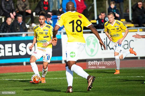 Alexander Jakobsen of Falkenberg in action during the allsvenskan match between Falkenbergs FF and Ostersunds FK at Falkenbergs IP on April 10 2016...
