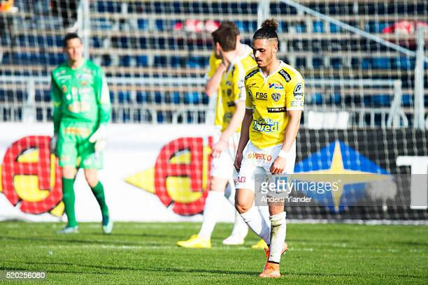 Alexander Jakobsen of Falkenberg looks dejected during the allsvenskan match between Falkenbergs FF and Ostersunds FK at Falkenbergs IP on April 10...