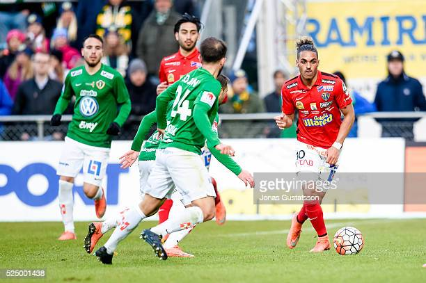 Alexander Jakobsen of Falkenberg with the ball during the allsvenskan match between Jonkopings Sodra IF and Falkenbergs FF at Stadsparksvallen on...