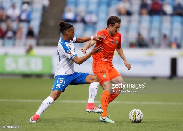 Alexander Jakobsen of IFK Norrkoping and Andrew Fox of Athletic FC Eskilstuna competes for the ball during the Allsvenskan match between IFK...